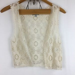 Lace Crocheted Festival Vest Sz S